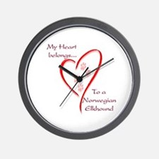 Elkhound Heart Belongs Wall Clock