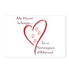 Elkhound Heart Belongs Postcards (Package of 8)