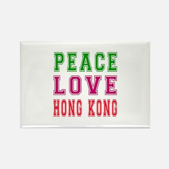 Peace Love Hong Kong Rectangle Magnet