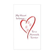 Norwich Heart Belongs Rectangle Decal