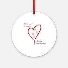 Affenpinscher Heart Belongs Ornament (Round)