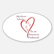 Foxhound Heart Belongs Oval Decal