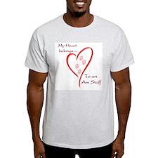 Am Staff Heart Belongs Ash Grey T-Shirt