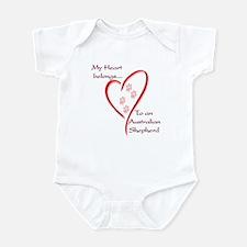 Aussie Heart Belongs Infant Bodysuit