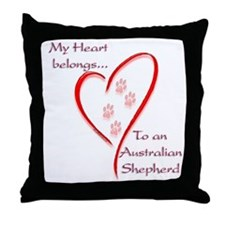 Aussie Heart Belongs Throw Pillow