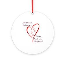 Aussie Heart Belongs Ornament (Round)