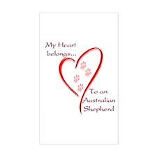 Aussie Heart Belongs Rectangle Decal