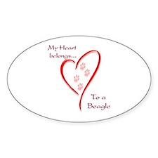 Beagle Heart Belongs Oval Decal