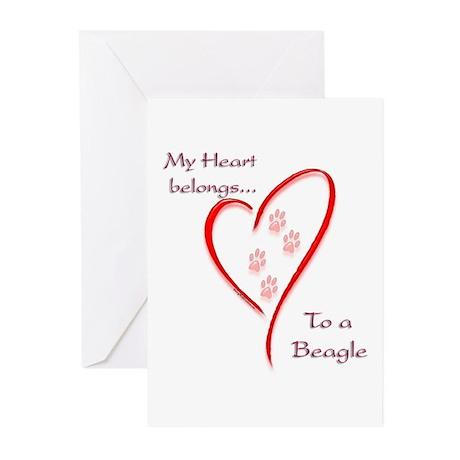 Beagle Heart Belongs Greeting Cards (Pk of 10)