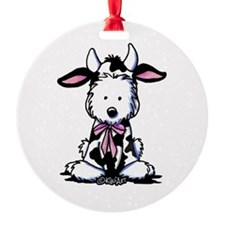 KiniArt Westie Cow Ornament