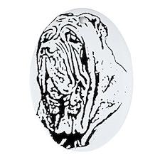 Mastino Head Study Oval Ornament