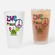 Love Peace Turtles Drinking Glass