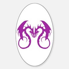 Purple Love Dragons Oval Decal