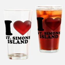 I Heart St. Simons Island Drinking Glass