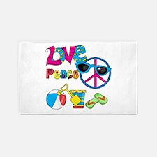 Love Peace Beach 3'x5' Area Rug
