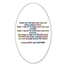 Spay & Neuter Pets Oval Decal