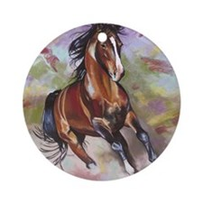Stallion Running  Round Ornament