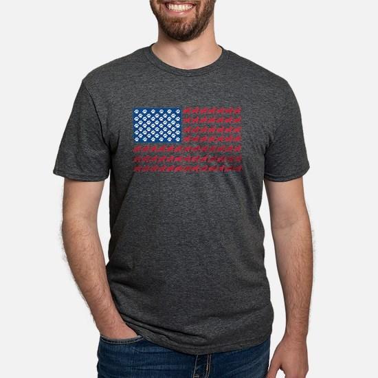 German Shepherd USA American FLAG - T-Shirt