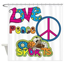 Love Peace Sports Shower Curtain