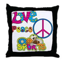 Love Peace Sports Throw Pillow