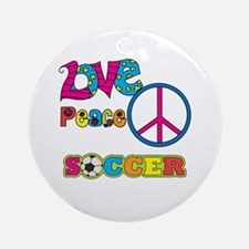 Love Peace Soccer Ornament (Round)