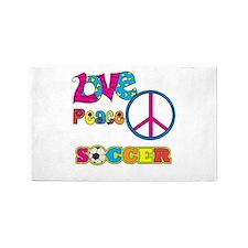 Love Peace Soccer 3'x5' Area Rug