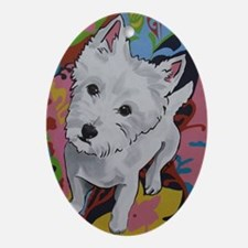 Westie - Poppy Oval Ornament