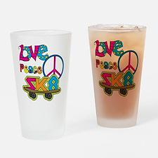 Love Peace Skate Drinking Glass