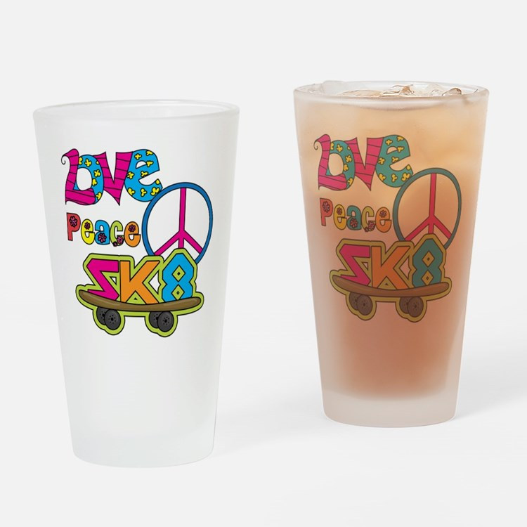 Love Peace Skate Drinking Glass