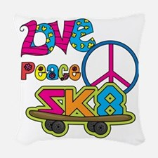 Love Peace Skate Woven Throw Pillow