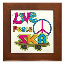 Love Peace Skate Framed Tile