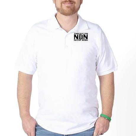 American NDN Native Blood Golf Shirt