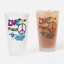 Love Peace Planes Drinking Glass