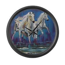 White Horses Running on Beach Large Wall Clock