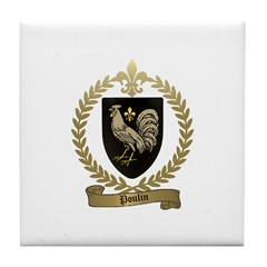 POULIN Family Crest Tile Coaster