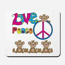 Love Peace Monkeys Mousepad