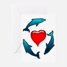Dolphin Valentine Greeting Cards (Pk of 10)