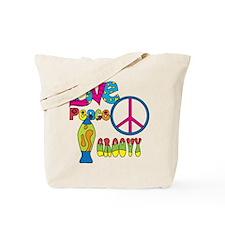 Love Peace Lava Lamp Tote Bag