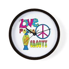 Love Peace Lava Lamp Wall Clock