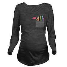 Flower Crayon Pocket Long Sleeve Maternity T-Shirt