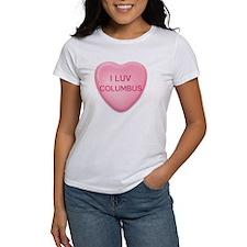 I Luv COLUMBUS Candy Heart Tee