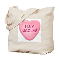I Luv NICOLAS Candy Heart Tote Bag