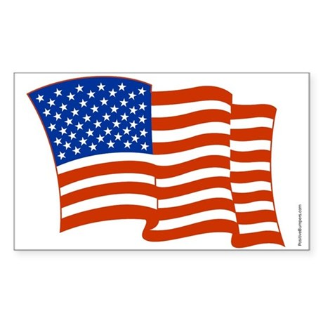 Waving American Flag Rectangle Sticker