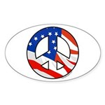 American Peace Symbol Oval Decal