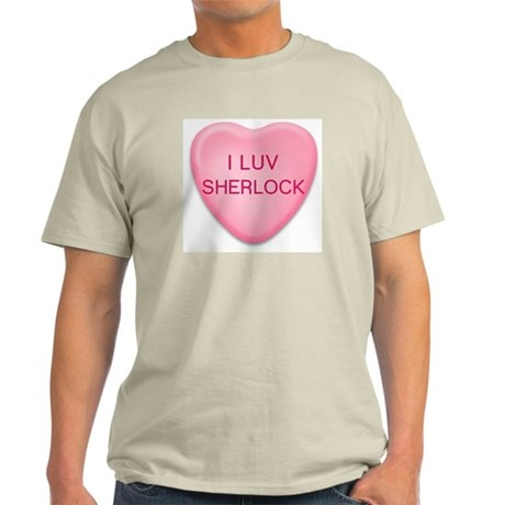 I Luv SHERLOCK Candy Heart Ash Grey T-Shirt