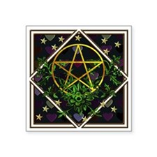"""Wiccan Pentacle and Greens Square Sticker 3"""" x 3"""""""
