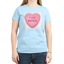 I Luv MATEO Candy Heart Women's Pink T-Shirt