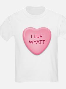 I Luv WYATT Candy Heart Kids T-Shirt
