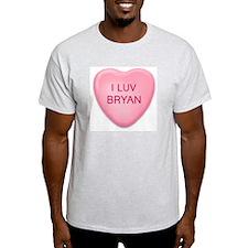 I Luv BRYAN Candy Heart Ash Grey T-Shirt