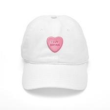 I Luv BRYAN Candy Heart Baseball Cap